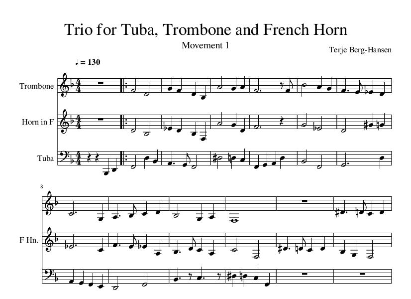 All Music Chords french horn sheet music : Trio for Tuba, Trombone and French Horn – Terje Berg-Hansen